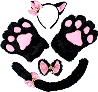 Spooktacular Creations 5 pcs Kitten Kitty Cat Costume Accessories Set for Adult and Child Cosplay Halloween Dress Up