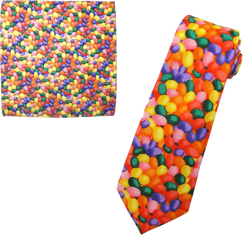 Jacob Alexander Men's Jellybean Candy Print Halloween Extra Long Neck Tie and Pocket Square Set