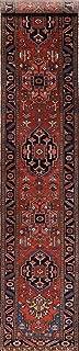 Antique Vegetable Dye Geometric 17 Ft Long Runner Persian Heriz Serapi Tribal Rug (17' 0'' X 3' 2'')
