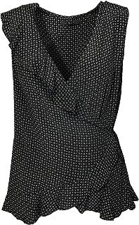 80bda853372728 Next Ladies Black TAN Printed WRAP Drape Front Plunge Blouse Sleeveless TOP