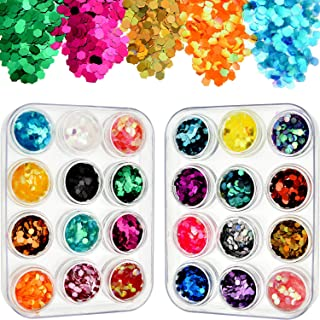 Tatuo 24 Pieces Chunky Glitter Hexagon Nail Sequin Cosmetic Iridescent Flakes with Clear Storage Box for Makeup Hair Nail Face Body