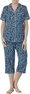 Galapagos Blue Floral Print 2 Piece Notch Collar Pajama Sleep Set