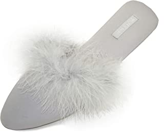 Women's Pointed-Toe Chic Home Slippers, Asymmetric Design Satin House Shoes Fluffy Feather/Ruffled Slip on Sandal Indoor/Outdoor No Slip Ladies Graceful Bride Slippers with Rubber Sole