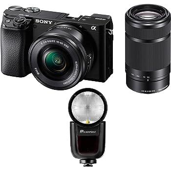 Sony Alpha A6100 Mirrorless Digital Camera, with 16-50mm and 55-210mm (Black) Bundle with Flashpoint Zoom Li-on X R2 TTL On-Camera Round Flash Speedlight