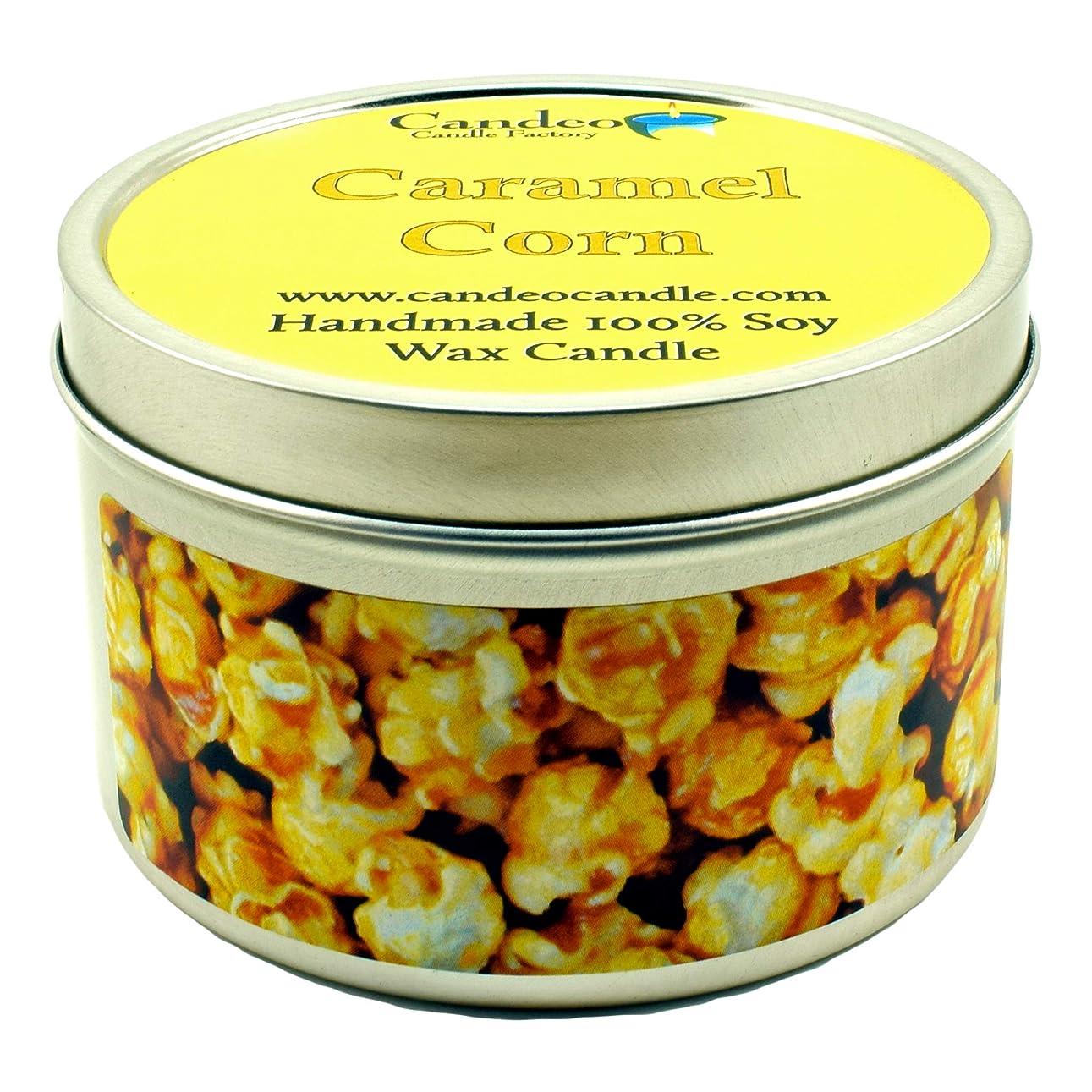 から聞く深さペッカディロ(180ml) - Caramel Corn, Super Scented Soy Candle Tin (180ml)