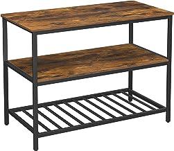 VASAGLE Keukenplank met 3 planken, keukeneiland met groot werkblad, stabiel metalen frame, 120 x 60 x 90 cm, eenvoudige mo...