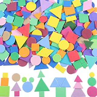 Sumind 1000 Pieces Assorted Colors Foam Geometry Stickers Mini Self-Adhesive Geometry Shapes Foam Stickers (Circle, Square, Triangle)