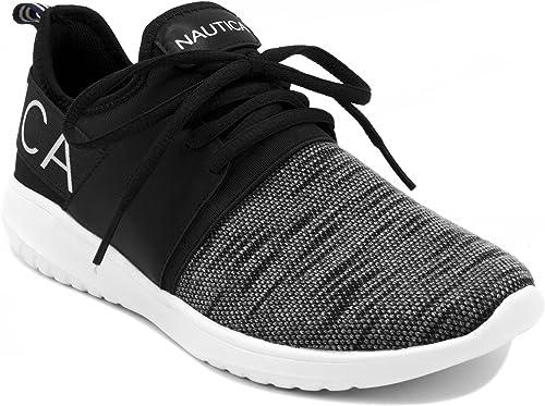 Nautica femmes Fashion paniers Lace-Up Jogger FonctionneHommest chaussures-Kappil-noir Knit-8.5