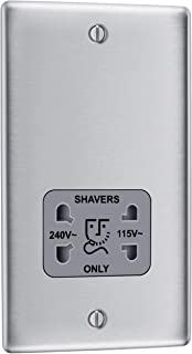 BG Electrical 115- and 230-Volts Dual Voltage Shaver Socket, Brushed Steel with Grey Insert