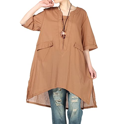 15ca343383 Mordenmiss Women s New Summer Side Slit Shirt Hi-low Blouse with Pockets