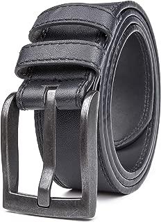 Belts for Men, Classic Stitched Large Width Strap, Regular Tall & Big sizes - Mens Jeans Belt - Handmade