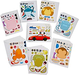 Kicko Make Your Own Sticker - 96 Stickers Assortment, Includes Zoo Animals, Cars, Sea Creature, and More - for Kids, Arts, Parties, Birthdays, Party Favors, Crafts, School, Daycare