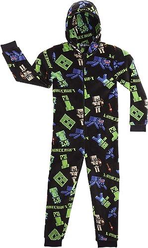 Minecraft Combinaison Pyjama Enfant Pixel Jeu Vidéo Vert Creeper Ou Noir, Vetement Garçon Ado, Grenouillère en Polair...