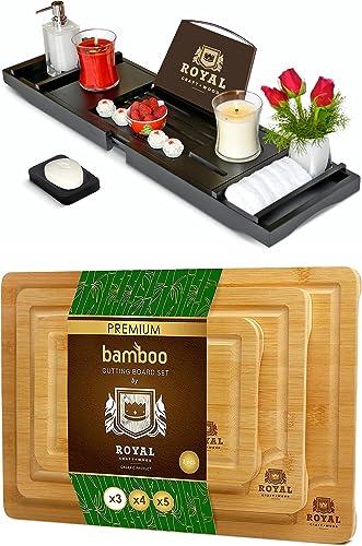 popular ROYAL CRAFT WOOD Luxury Bathtub popular Caddy wholesale Tray (Black) and Cutting Board Set outlet online sale