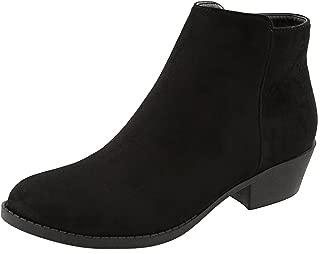 TOP Moda Women's Inside Zip Round Toe Low Block Heel Ankle Bootie (5.5 B(M) US, Black)