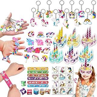 60 Pack Unicorn Party Favors Supplies Unicorn Slap Bracelets Mask Rings Keychains Tattoos Rainbow Unicorn Gifts Toys Birth...