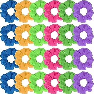 24 Pieces 80s Neon Hair Scrunchy Elastic Hair Bands Scrunchy Tie Chiffon Hair Tie Elastic Hair Bobbles Solid Color Ponytail Scrunchy (Color Set 2)