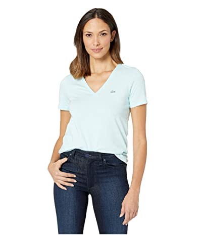 Lacoste Short Sleeve Classic Supple Jersey V-Neck T-Shirt (Aquarium) Women