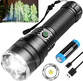 Sponsored Ad - Rechargeable LED Flashlights High Lumens, 10000 Lumens Bright Tactical Flashlights with 21700 Batteries, 4 ...