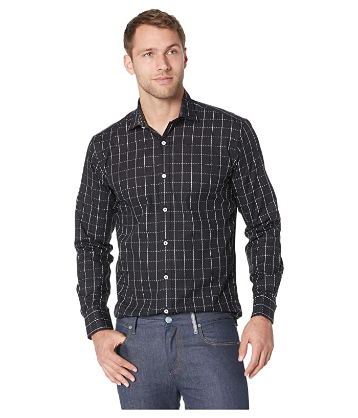 Bugatchi Mens Shaped Fit Checkered Pattern Long Sleeve Woven