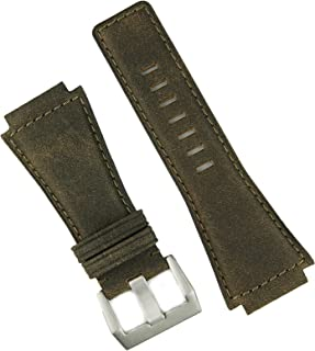 B & R Bands Distressed Brown Bomber Bell and Ross BR01 BR03 Replacement Leather Watch Band Strap
