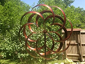 AK Energy Large 2 ft Kinetic Wind Sculpture Modern Art Dual Spinner Metal Outdoor Pinwheel 2 Rotating Flower Shape Bronze Color