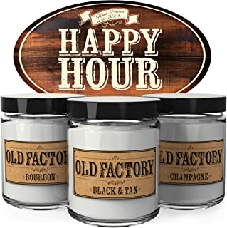 Old Factory Scented Candles - Happy Hour - Decorative Aromatherapy - Handmade in The USA with Only The Best Fragrance Oils - 3 x 4-Ounce Soy Candles