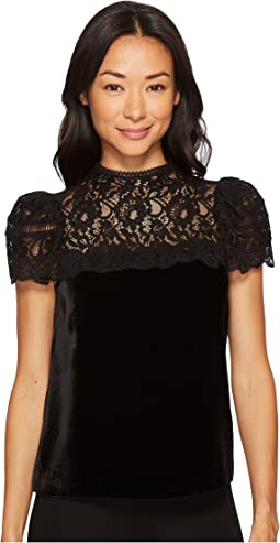 Rebecca Taylor - Short Sleeve Velvet & Lace Top