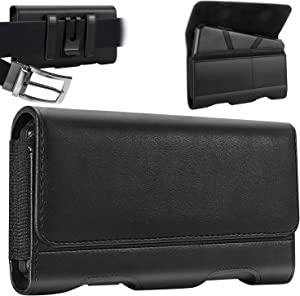 Mopaclle Cell Phone Holster Belt Case for iPhone 13 Pro Max XR Xs Max 12 Pro Max 6s Plus 7 Plus 8 Plus Samsung Galaxy S20 FE 5G S20 Plus A12 A71 A72 A52 Leather Belt Clip Loops Pouch Card Holder