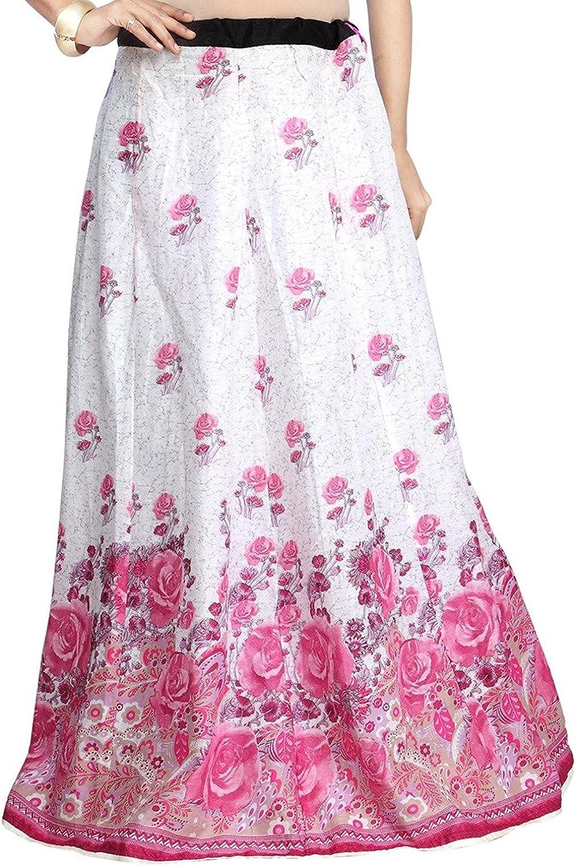 Indian Handicrfats Export Admyrin Women OffWhite and Pink Cotton Skirt
