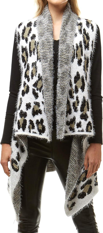 MIRMARU Women's Soft Warm Sleeveless Leopard Zebra Camouflage Pattern Open Front Fuzzy Cardigan Vest Sweater