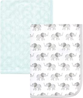 Hudson Baby Unisex Baby Cotton Blankets, Gray Elephant 2-Pack, One Size