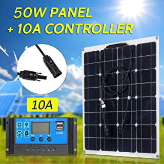 Honelife 50W 18V Monocrystalline Solar Panel Module Kit High Efficiency IP65 Water Resistance with 10/20/30/40/50A Solar C...