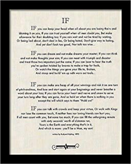 Desiderata Gallery Brand, Framed Linen If Quote (Written in 1895) Rudyard Kipling (Author of The Jungle Book) 12x15