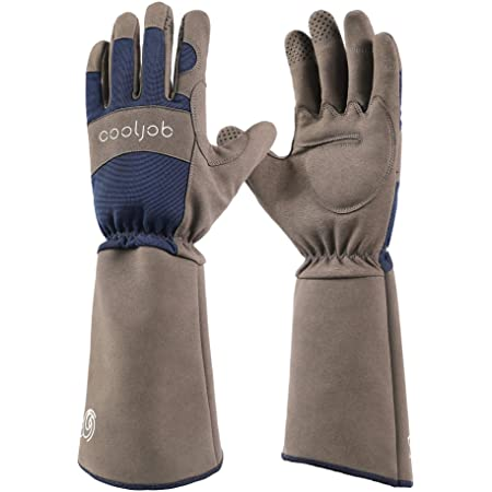 COOLJOB Rose Pruning Thorn Proof Gauntlet Gardening Gloves, Long Sleeve Puncture Proof Gloves with Forearm Protection for Gardeners, Large Size, Navy & Grey (1 Pair L)