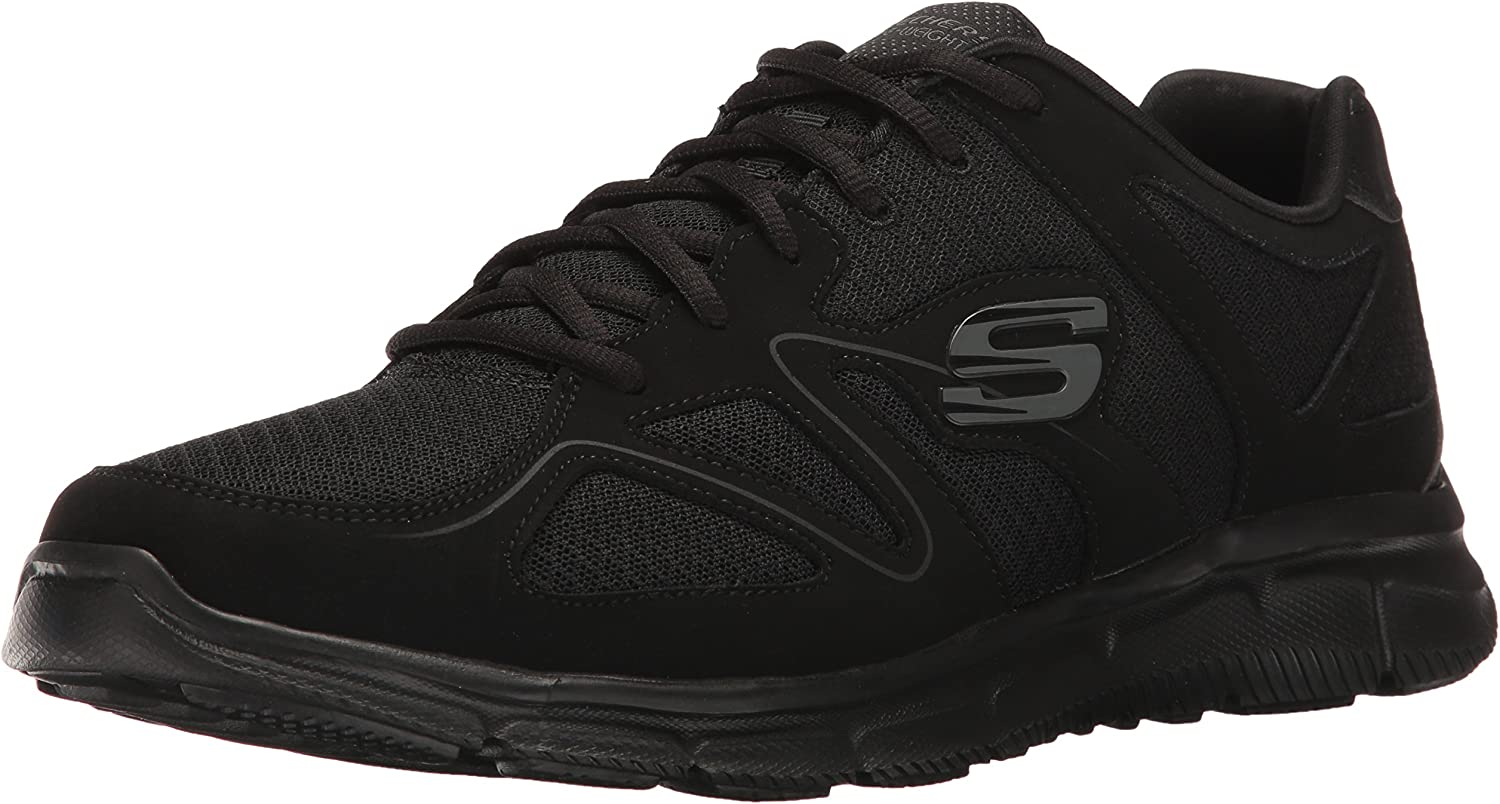 Skechers Men's Satisfaction 58350-bbk Low-Top Sneakers, Black, 8 UK