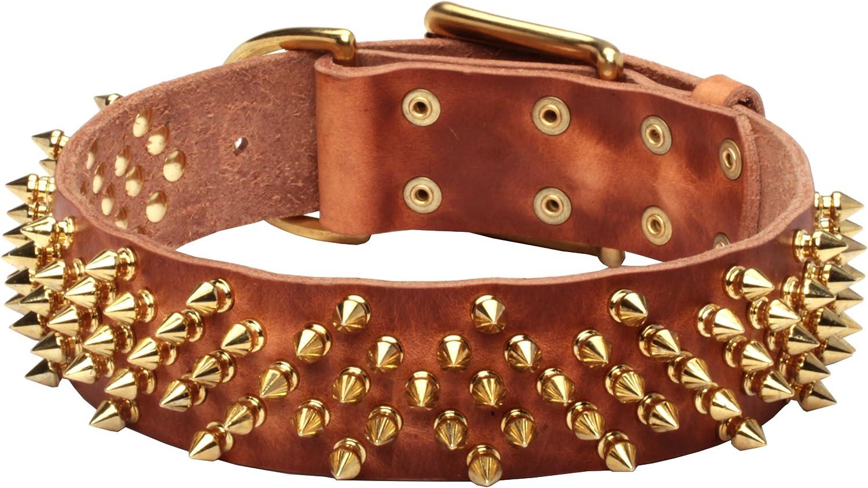 18 cm Collar in pelle con Spike in ottone Set in Waves; 1 /5 pollice (45 mm) largo