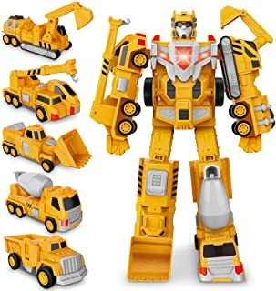 Construction Toy Trucks for 3 4 5 6 Year Old Toddler Boy Kids, Magnetic Assemble Transform Robot Play Vehicles, 15.7 inch ...