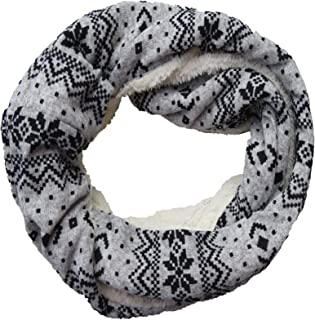 Unisex Soft Faux Fur Warm Snood Winter Loop Scarf Fair Isle Snowstar Design