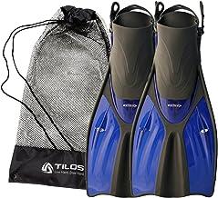 Tilos Getaway Snorkeling Fins Open Heel Fins with Mesh Bag, Extra Wide Foot Pocket