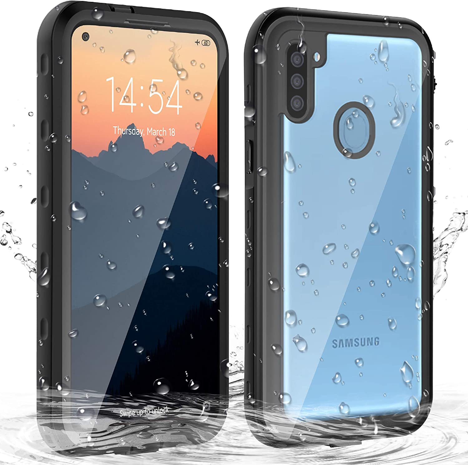 Janazan Samsung A11 Case, Full Body Protective Galaxy A11 Waterproof Case with Built-in Screen Protector, Heavy Duty Shockproof Sand Proof for Samsung Galaxy A11 (Black)