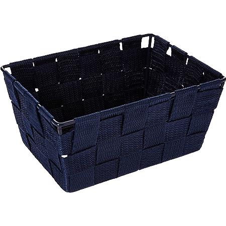 WENKO Panier de rangement Adria Mini long bleu foncé - Panier de salle de bain, rectangulaire, tresse plastique, Polypropylène, 19 x 9 x 14 cm, Bleu foncé