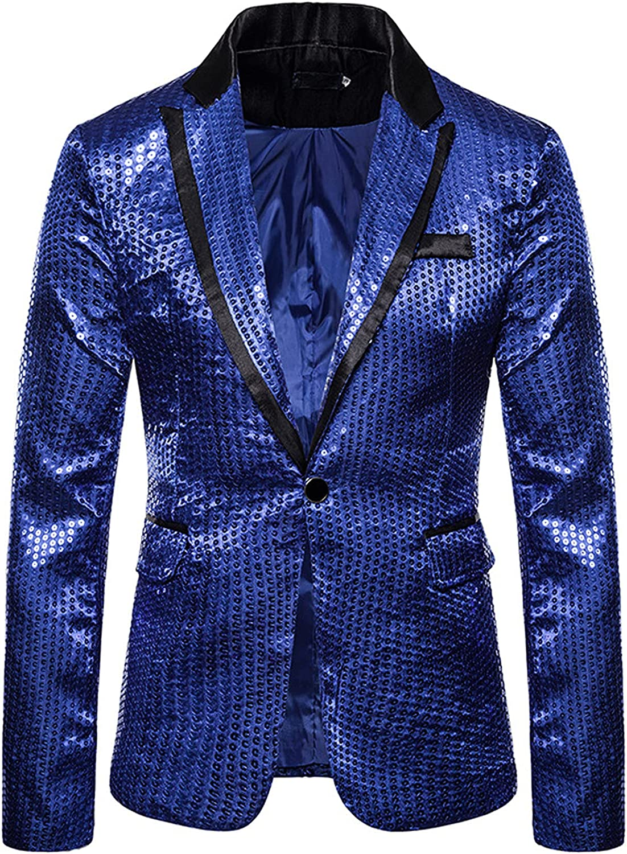 Mens Blazer Lapel Collar Shiny Sequins Suit Jacket Slim Fit One Button Dress Coat for Party, Wedding, Banquet, Prom