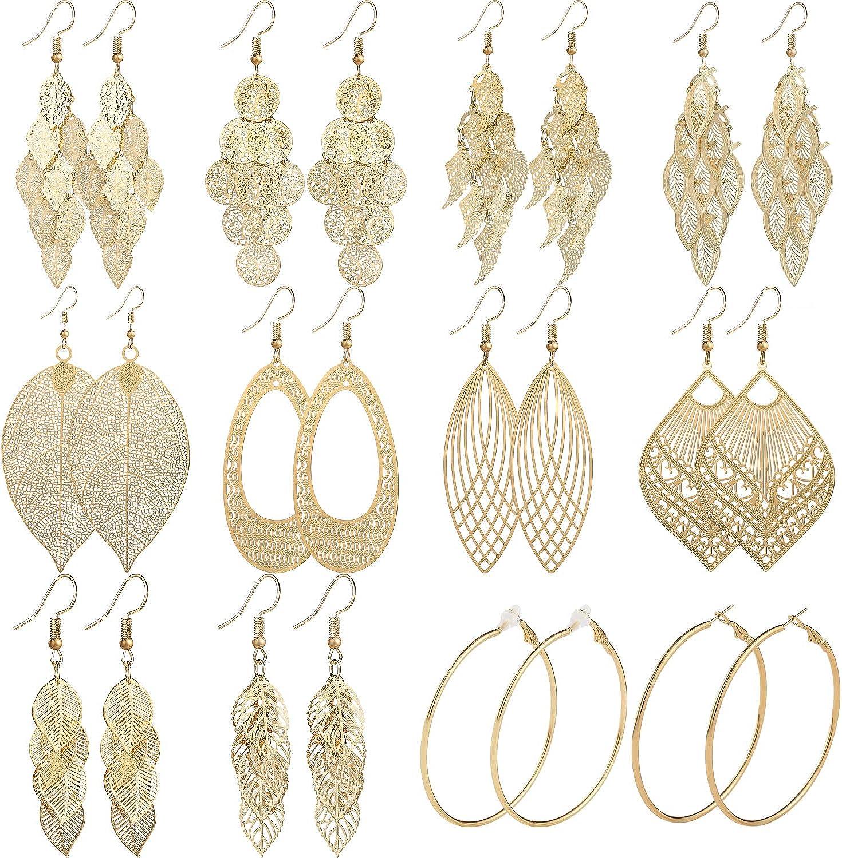 Starain 12 Pairs Gold Hoop Earrings for Women Girls Long Layered Leaf Earrings Vintage Statement Dangle Drop Earrings Set