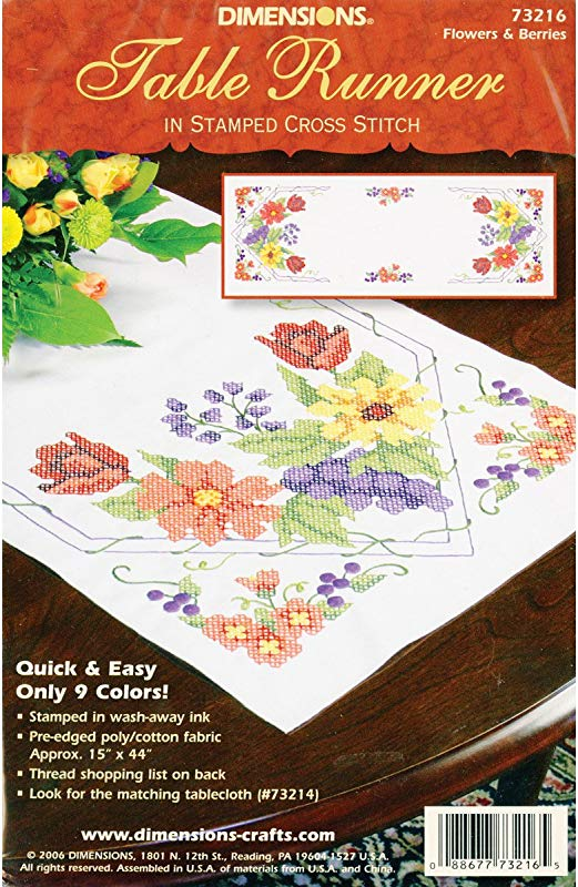 Dimensions Needlecrafts Stamped Cross Stitch Flowers Berries Table Runner