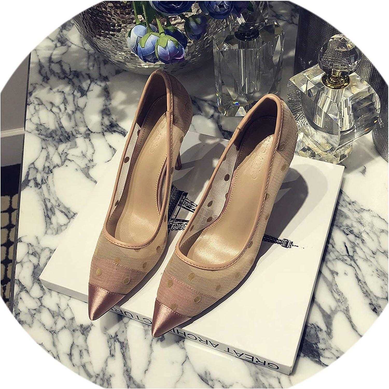 Elegant Pointed Toe Thin Heel shoes Sexy Mesh Gauze Dot Woman Wedding Party High Heels