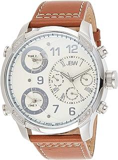 ساعة جيه بي دابليو G4 16 دايموندز فضية للرجال بسوار من الجلد - J6248LM