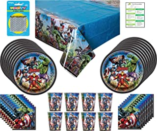 Marvel Avengers Birthday Party Supplies Pack: Big Plates, Cups, Napkins, Table Cover, Candles – Set for 16 Guests