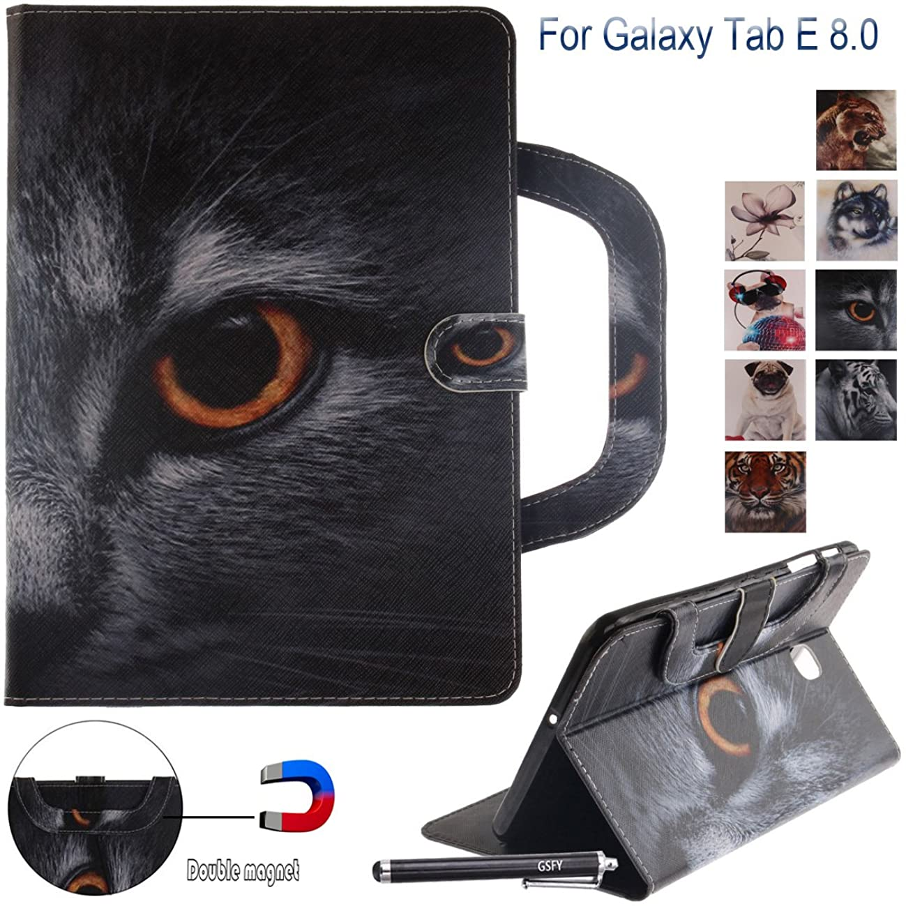 Galaxy Tab E 8.0 Case, Newshine PU Leather Hand-held Stand Wallet Cover with Card/Cash Slots for Samsung Galaxy Tab E 8.0'' 2016 Released SM-T377/T375/T378, Half-face Cat