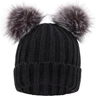 Arctic Paw Womens Winter Beanie Cable Knit Faux Fur Pompom Ears Beanie Hat